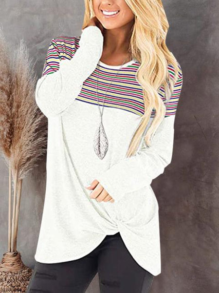 Stripe Print Twisted Hem Long Sleeve Top