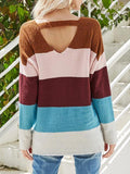 Striped Contrast Color V-neck Pullover Sweater