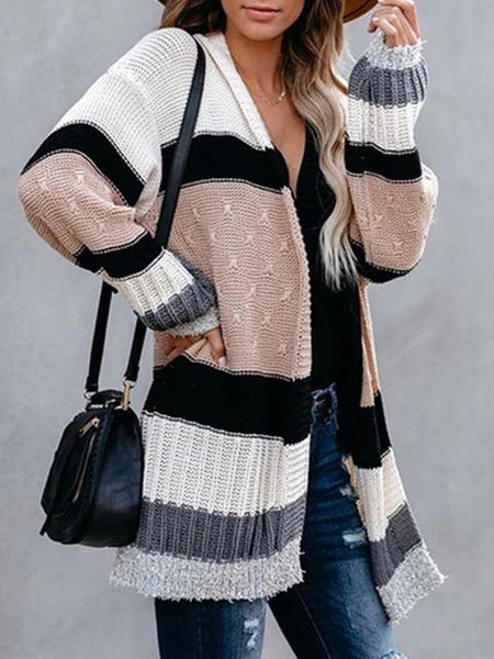 Striped Contrast Knit Cardigan Coat