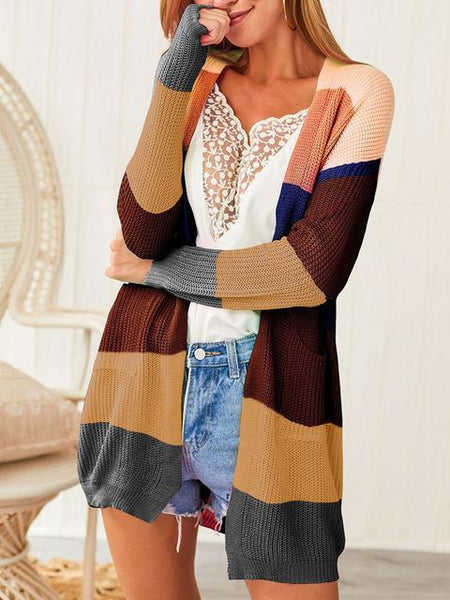 Striped Contrast Stitching Knit Cardigan