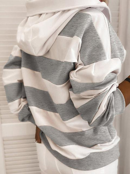 Striped  Drawstring Long Sleeve Hooded Sweatshirt