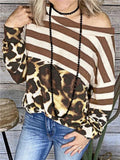 Striped Leopard Print Splicing Top