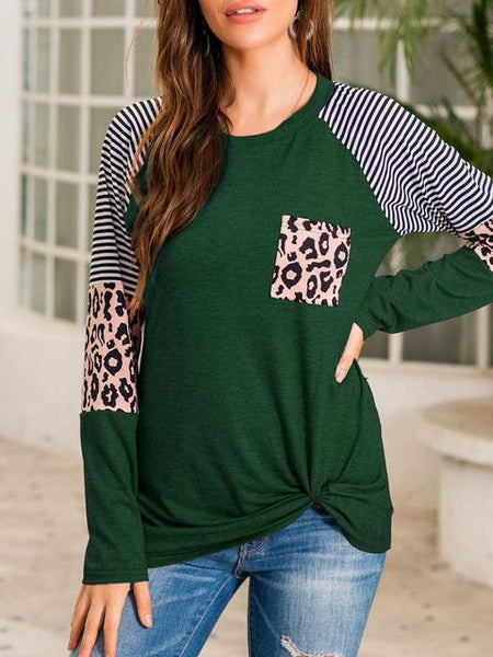 Striped Leopard Print Stitching Long Sleeve T-shirt