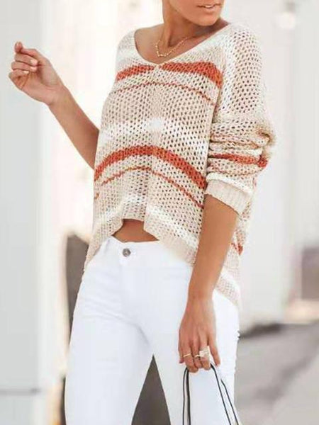 Striped Mesh Loose Jumper Crop Top