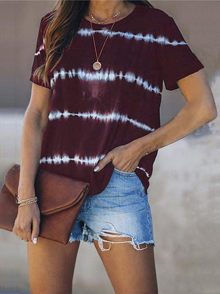 Striped Round Neck Short Sleeves Casual T-shirt