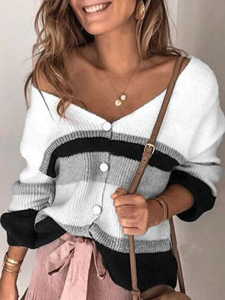Striped Stitching V-neck Sweater Cardigan