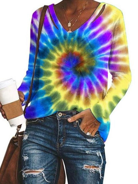 Swirl Tie-dye Print Long Sleeve V-neck Top