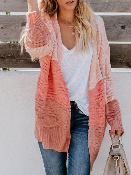 Three-color Stitching Loose Knit Cardigan