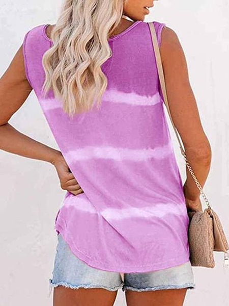 Tie-dye Print Button Tank Top