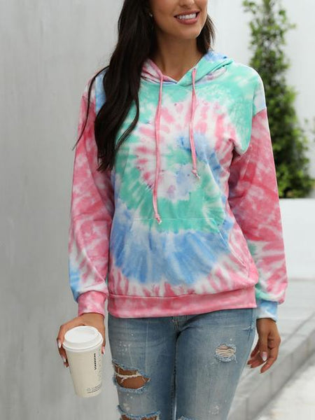 Tie-dye Printed Drawstring Hoodie With Pocket