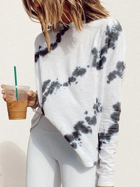 Tie-dye Round Neck Long Sleeve Tops