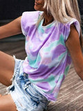 Tie-dye Round Neck T Shirt Without Shoulder Pads