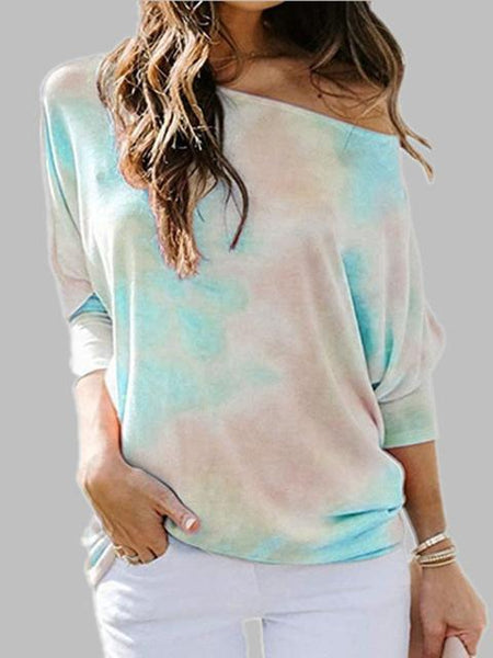 Tie Dye Crew Neck Loose Long Sleeved Top