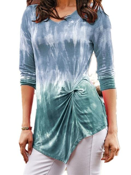 Tie Dye Gradient Print Twisted Long Sleeved Tunic Top