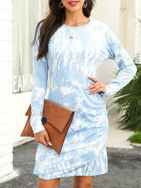 Tie Dye Round Neck Long Sleeve Mini Dress