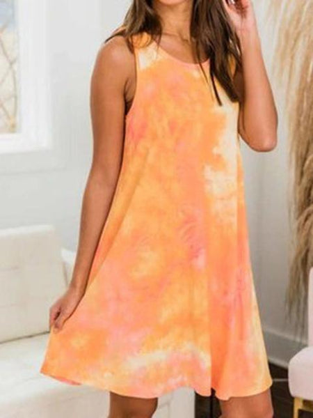 Tie Dye Round Neck Sleeveless Mini Dress