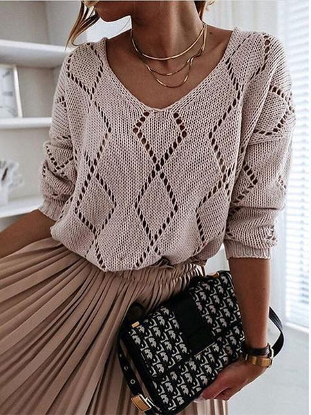 V-neck Rhombus Hollow out Knit Sweater