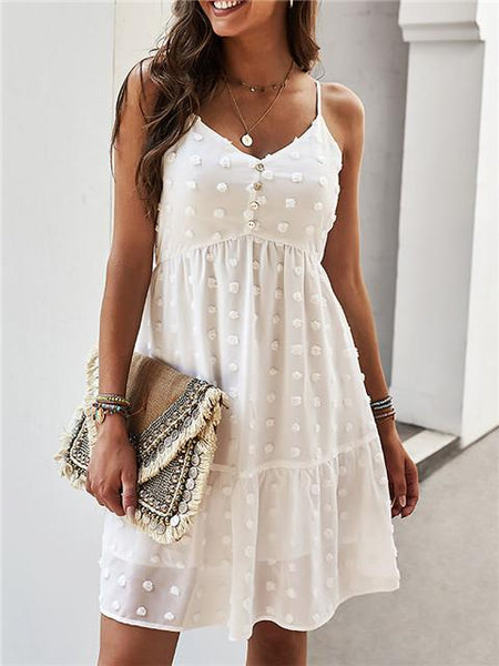 V Neck Sexy Casual Suspenders Dress