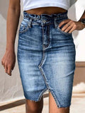 Vintage High Waist Washed Denim Skirt