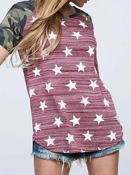 Vintage Stars Camo Patchwork Tunic Tee
