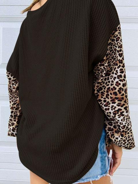 Waffle Leopard Stitching Long Sleeve Knitted Top