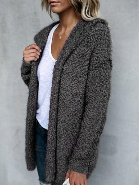 Woolen Loop Hooded Cardigan Coat