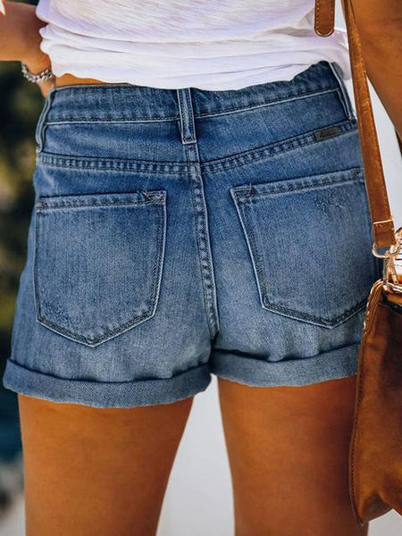 Denim Ripped Hole High Waist Shorts
