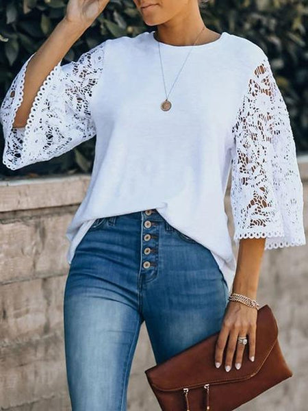 A Solid Color Blouse With Lace Stitching