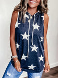 Star Print Hooded Sleeveless Tank Tops