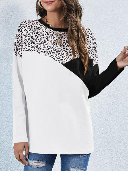 Color Block Leopard Print Casual Tops