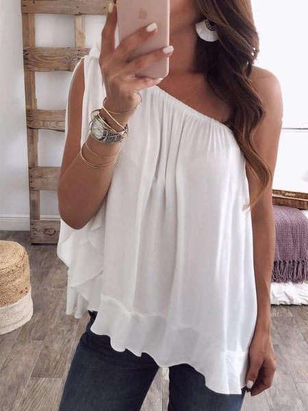 One Shoulder Floundered Chiffon Blouse