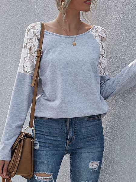 Lace Floral Selleve Casual Winter Blouse