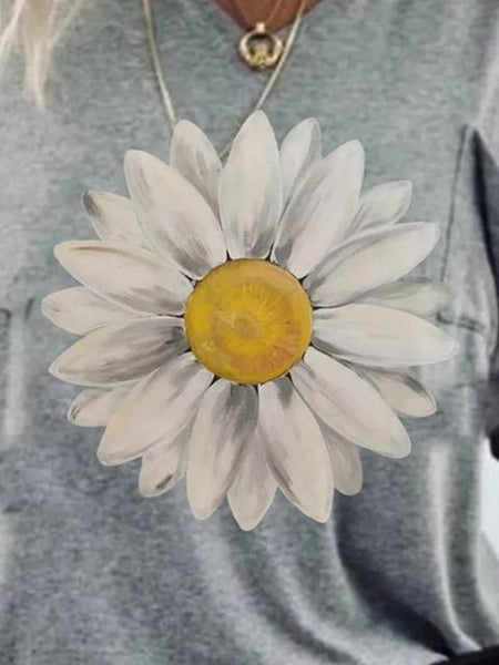 Sunflower Short Sleeve Loose Pocket T-shirt