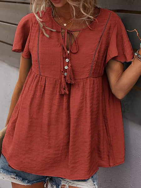 Drawstring Ruffle Sleeve Casual Blouse