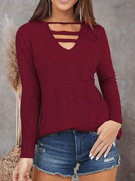 V Neck Scoop Cutout Tops Tunic with Pocket