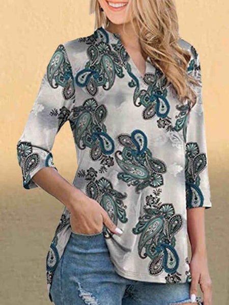 V Neck Print Casual Tops