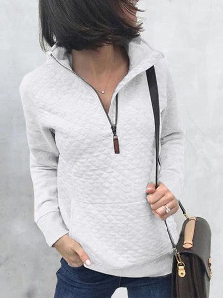 Zip Diamond Lattice Sweatshirt With Pockets