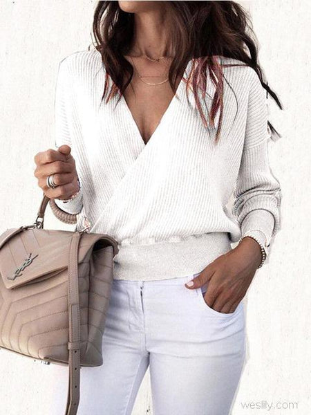 Casual Solid color Cross Wrap Knit Sweater