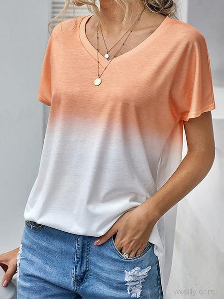 V-neck Contrast Color Tunic Tops