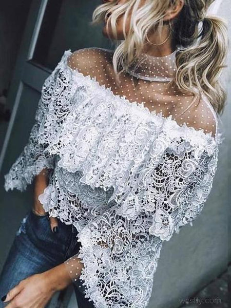 Dot Mesh Patchwork Lace Tops