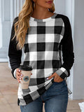 All-match Christmas Plaid Print Sweatshirt