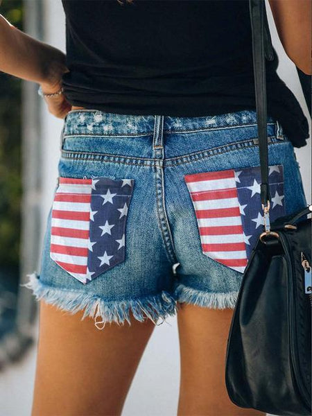 American Flag Printed Ripped Denim Shorts