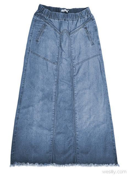 Brushed Elastic Waist Denim Skirt