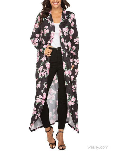 Thin Print Long Cardigan Coat