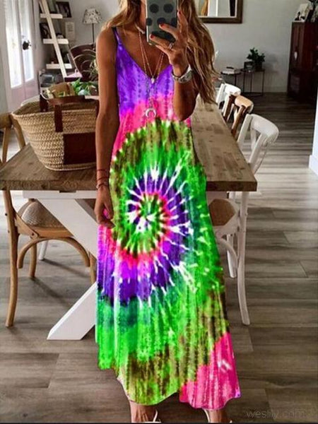 Bohemia Tie-dye Sling Long Dress
