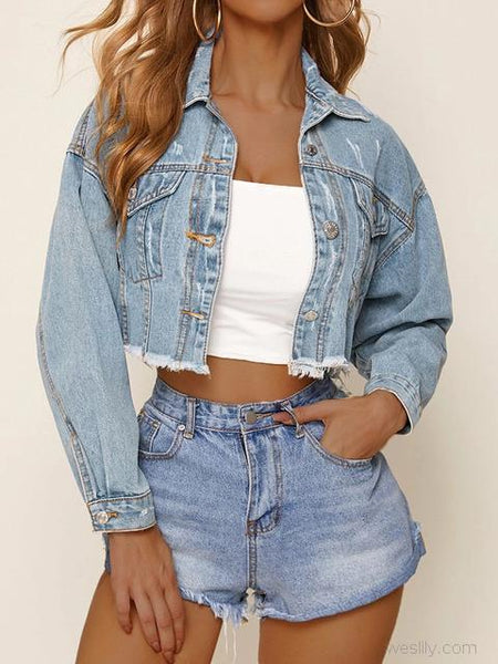 Solid Color Casual Short Denim Jacket