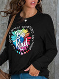 Be Kind Print Long Sleeve Tops