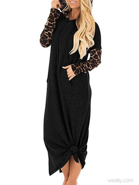 Casual Sleeve Print Thick Long Dress