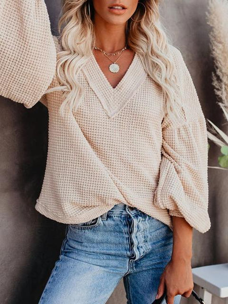 Billowed Sleeve Thermal Knit Sweater