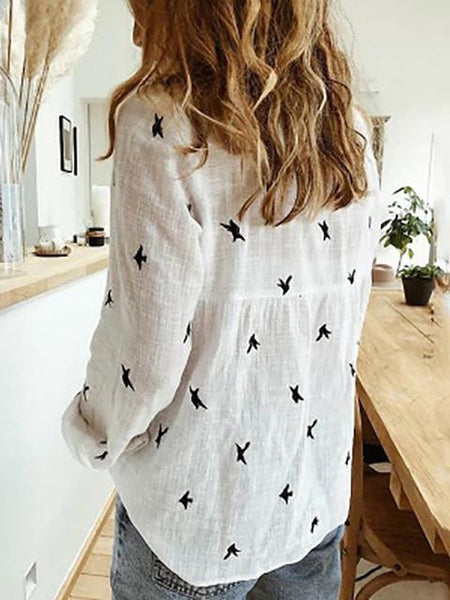 Birds Print Long Sleeve Casual Shirt